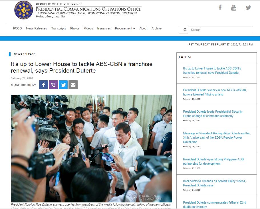 News Release, Republic of the Philippines, President Rodrigo Roa Duterte