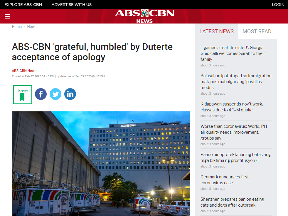 ABS-CBN grateful humbled by Duterte acceptance of apology, article
