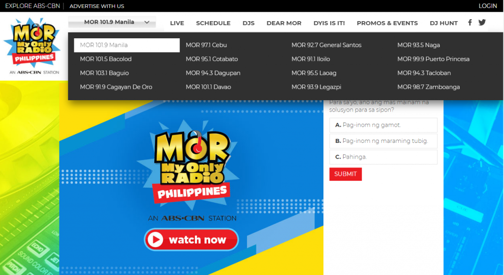 Homepage of Mor - My only radio, Philippines