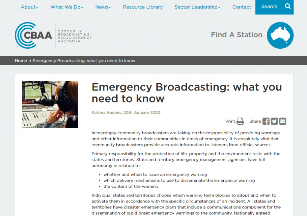 CBAA Emergency Broadcasting in Australia