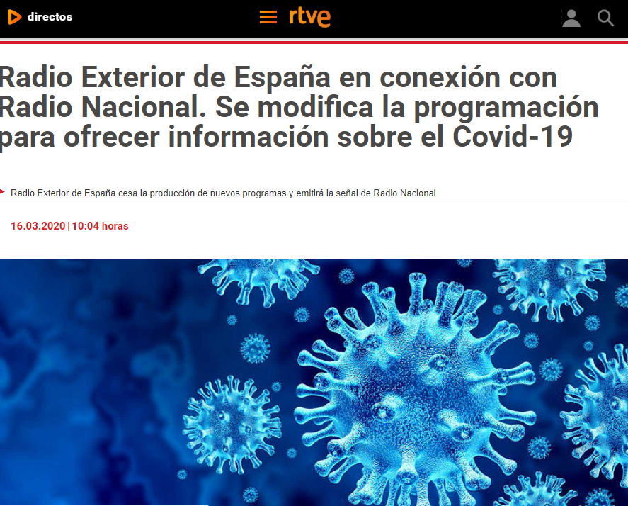 Website RTVE in Spain, Article about the connection of Radio Exterior and Radio Nacional