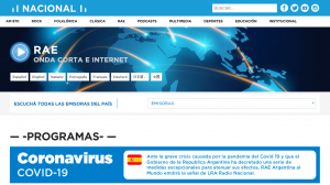 Website of RAE and Radio Nacional in Argentina