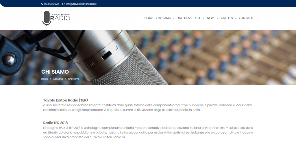 Website of TER (Tavolo Editori Radio)