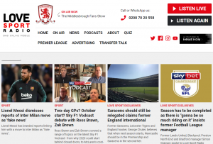 Love Sport Radio, Website