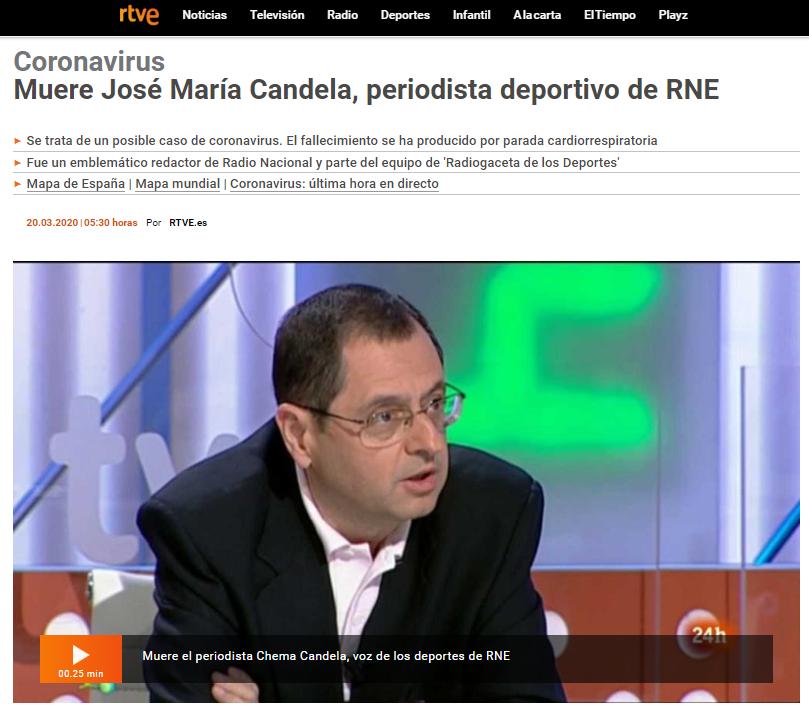 RTVE, Radio Nacional de Espana, José María Candela, sport journalist at RNE died cause of Coronavirus