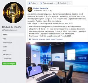 Facebook page of Radios du monde