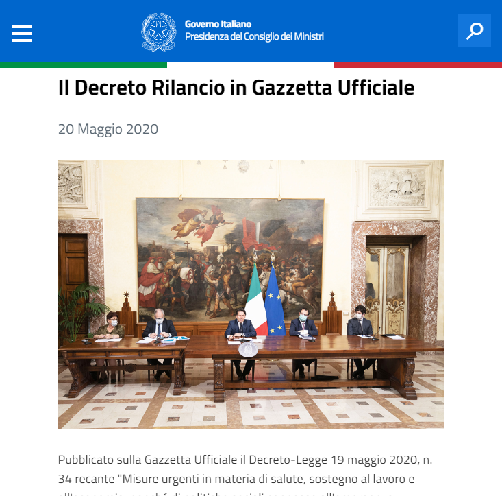 the publication of the relaunch decree in italy