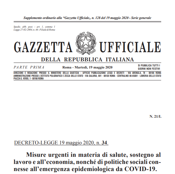 the relaunch decree from may 2020, italy