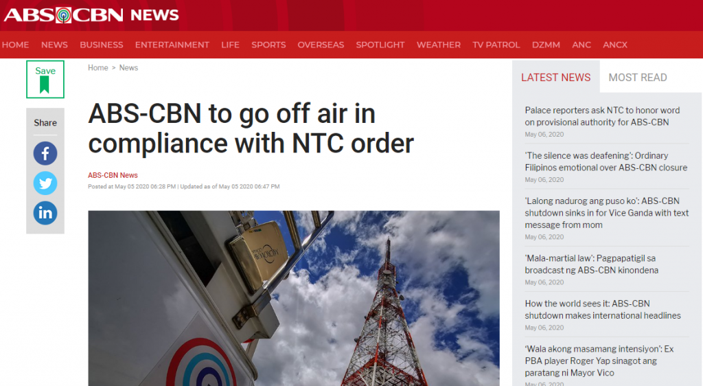 ABS-CBN to go off air in compliance with NTC order, ABS-CBN News