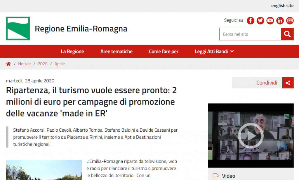 relaunching tourism in the region Emilia-Romagna, italy - 2 million euro campaign to promote tourism