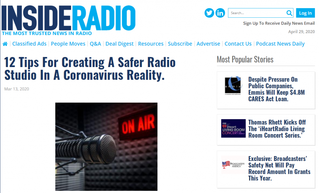 Inside Radio, 12 tips for creating a safer radio studio in a coronavirus reality