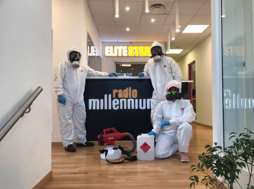 Radio millenium, Milan, Italy disinfecting the studio