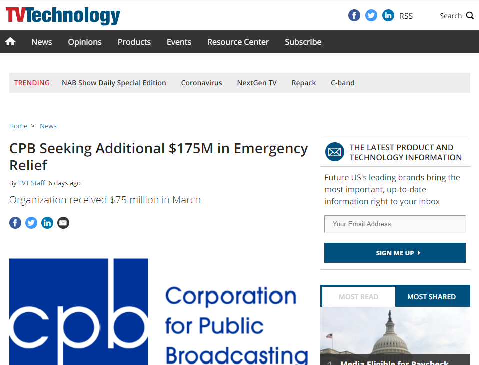 CPB, corporation for public broadcasting seeking for additional emergency funding