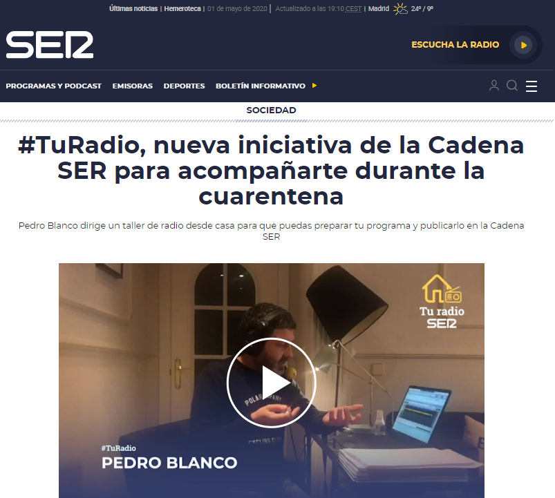 Cadena SER, Spain, initiative about turadio, teaching workshops for listeners how to make their own programme