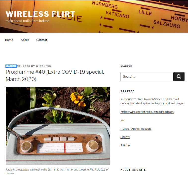 Wireless, programme on Flirt FM in Galway, their blog, where one can listen to their podcast