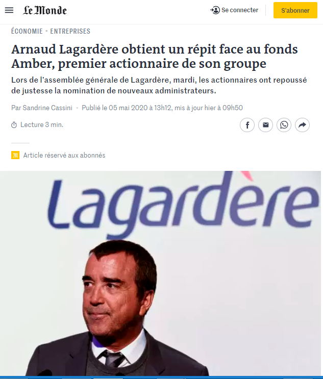 Arnauld Lagardère, CEO, article from Le monde, France