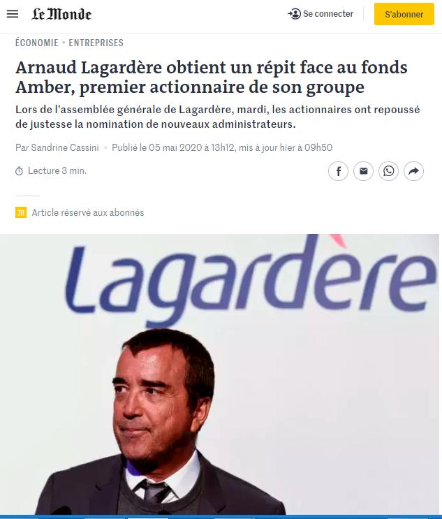 Arnauld Lagardère, CEO, article from Le monde, France