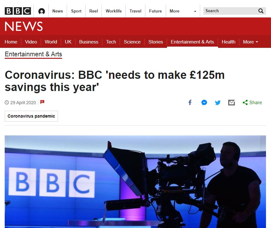 BBC needs to make 125 million pound sterling savings this year due to the coronavirus crisis
