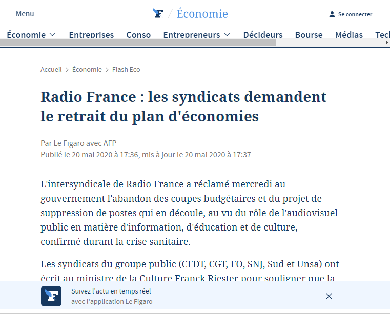 Radio France cutting costs for radio broadcasting due to the Coronavirus pandemic