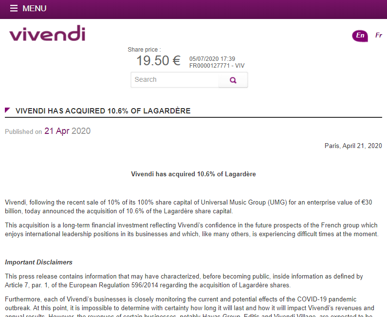 Article about Vivendi acquiring 10% of Lagardère