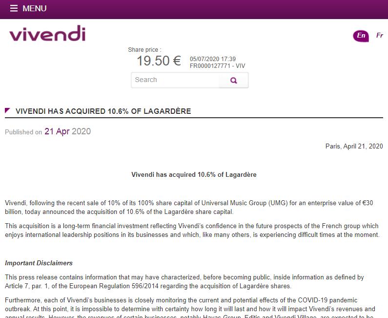 Article about Vivendi acquiring 10% of Lagardère
