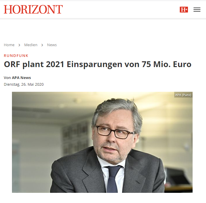 APA News reporting on Horizont about Austria's ORF planned cost cutting due to Covid-19