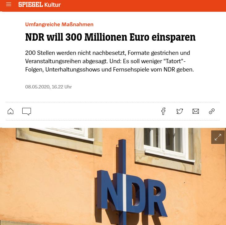 NDR, Norddeutscher Rundfunk, cutting costs due to coronavirus.
