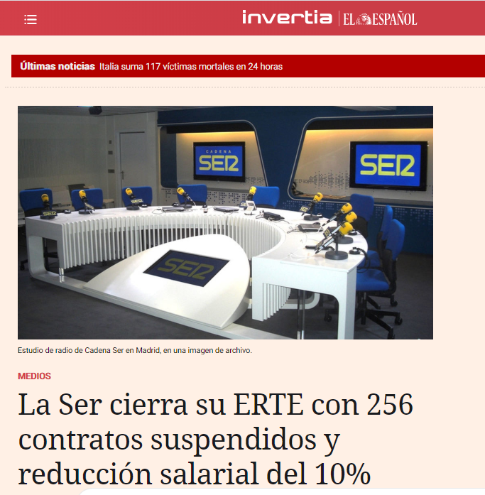 the Spanish network, Cadena SER, is reducing cost of labour. Article from inertia, el espanol.