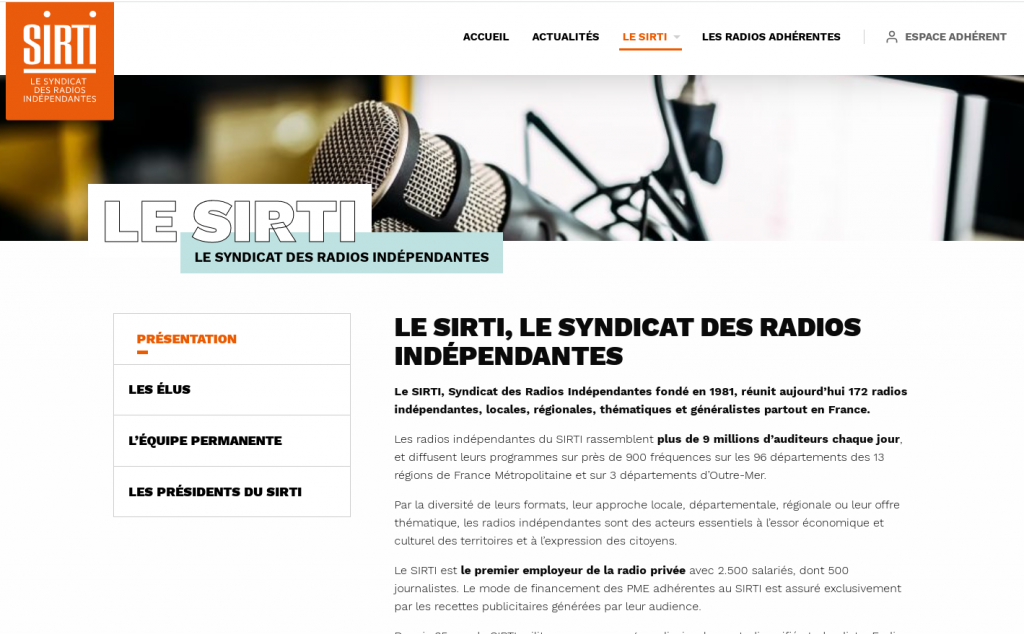 SIRTI, the union of independent radio stations, brings together 172 French independent, local, regional, thematic and generalist radio channels.