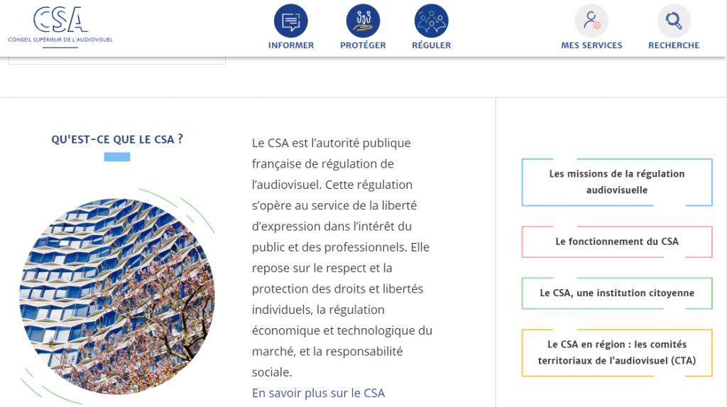 Le CSA Conseil Supérieur de l'Audivisuel, est l'autorité publique qui réglemente également la planification des fréquences