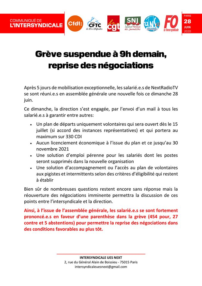 This press release, giving information on the progress of their negotiations, appeared on June 29th, 2020, on the Facebook page of the union representing Altice staff
