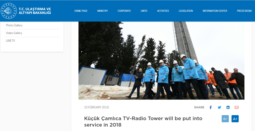 A year later (February 2018) the same minister can be seen on a visit to the tower stating that the construction would be completed by the end of the year
