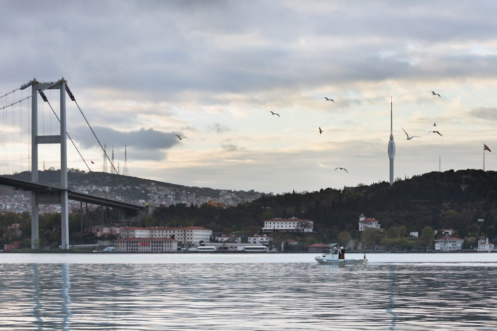 The tower seen from the Bosporus, on the left you can see the present telecommunication masts which are due to be dismantled, Istanbul turkey