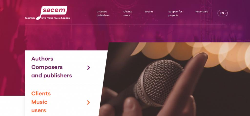 Les droits d'auteur sont gérés par deux sociétés: la Sacem est responsable des droits des auteurs, compositeurs et producteurs de musique; la Spre celle des artistes interprètes et producteurs de musique