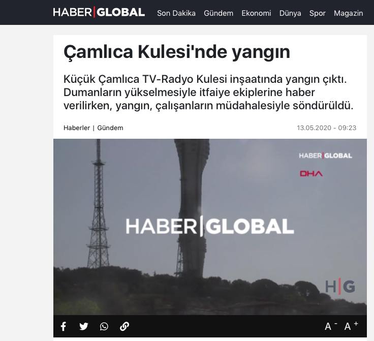 A video showing the area where the fire broke out can be seen on the website of Haber Global, TV and Radio tower in Istanbul, Turkey