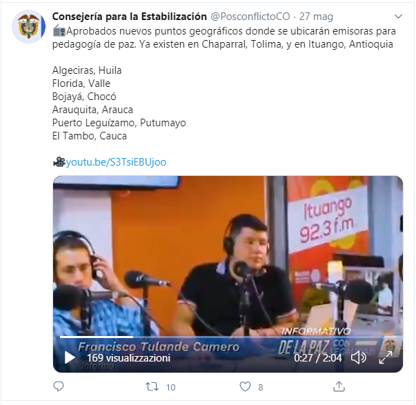 The Presidential Council for Stabilization and Consolidation's tweet announcing where six new radio stations for peace will be located. The photograph shows the studios of the broadcaster in Ituango