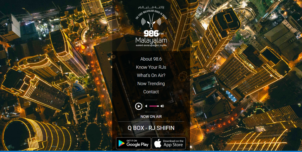 Malayalam Radio is a commercial radio station that broadcasts on 98.6 FM in Doha. Malayalam is the Indian language spoken in the state of Kerala