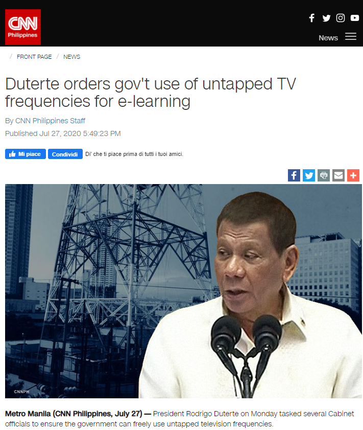 """It shall be the government who should be given the first option to utilize them"" stated Rodrigo Duderte, the President of the Philippines"