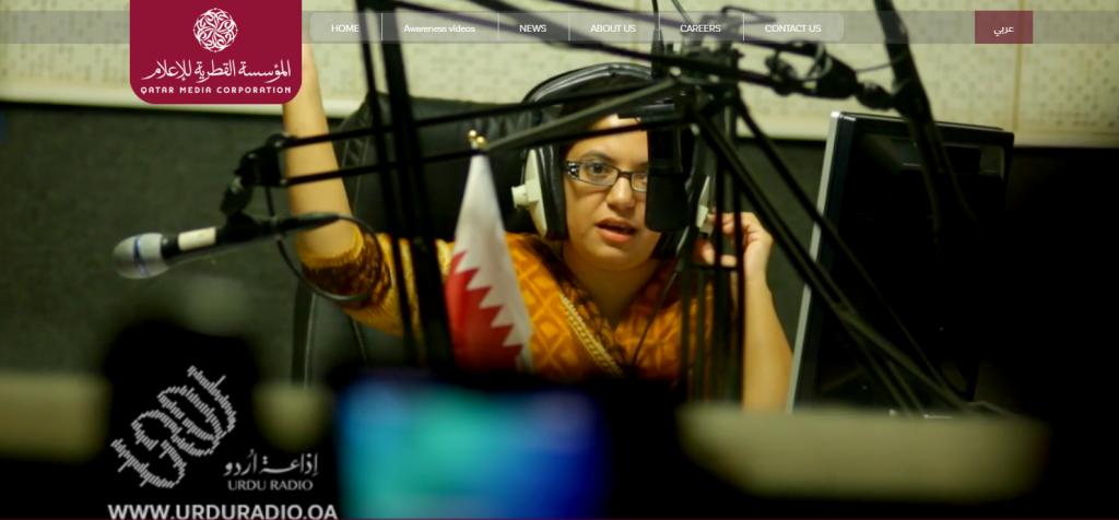 A radio host at the QMC (Qatar Media Corporation) radio station broadcasting in Urdu