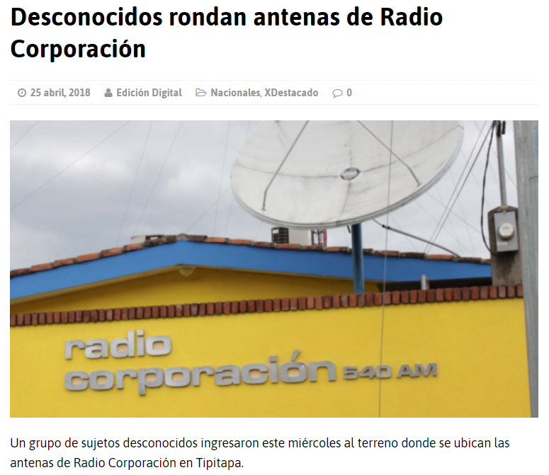The headquarters of Radio Corporacion in Tipitapa, a municipality 30 km from the capital, Managua