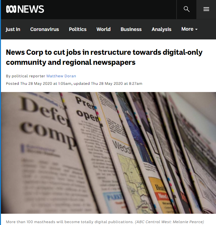 News Corp, the conglomerate owned by Rupert Murdock, has reacted to operating losses by restructuring its own premises