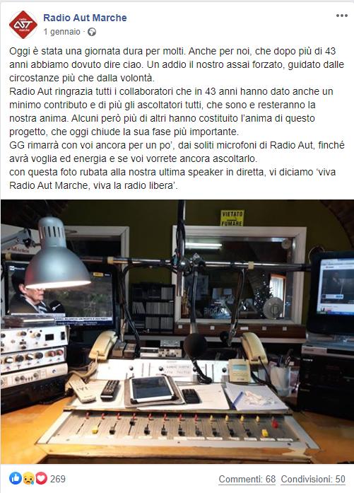 Il post apparso l'1 gennaio sulla pagina Facebook della radio, nella quale si spiegava agli ascoltatori la decisione di chiudere e la nostalgia del primo giorno di inattività