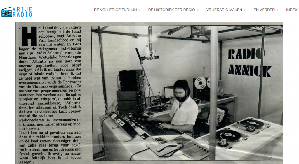 Article of 1982 on Radio Annick, a very well known Antwerp radio station, to which is dedicated an extensive card