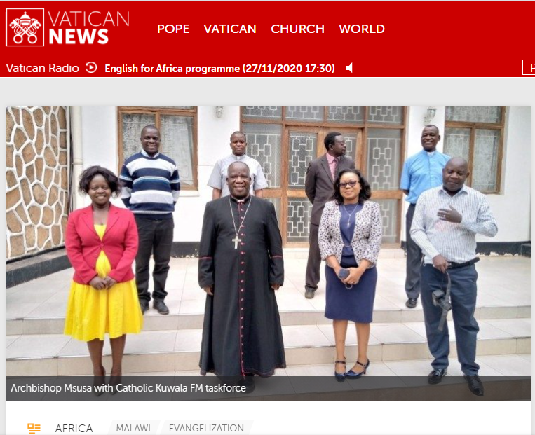"Archbishop Thomas Luke Msusa (in the centre of the photo) is ""impressed by the commitment of the team"" that is carrying out the project of the new Catholic radio station."