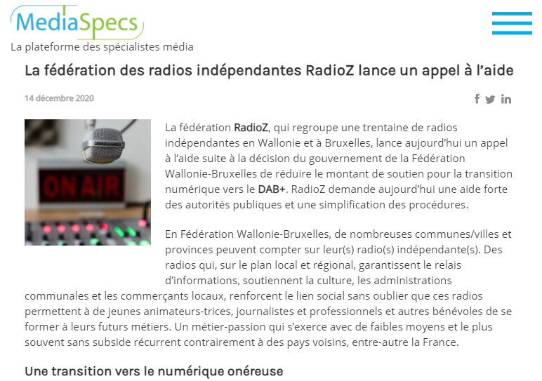 Independent Belgium radio stations ask for help to broadcast on dab
