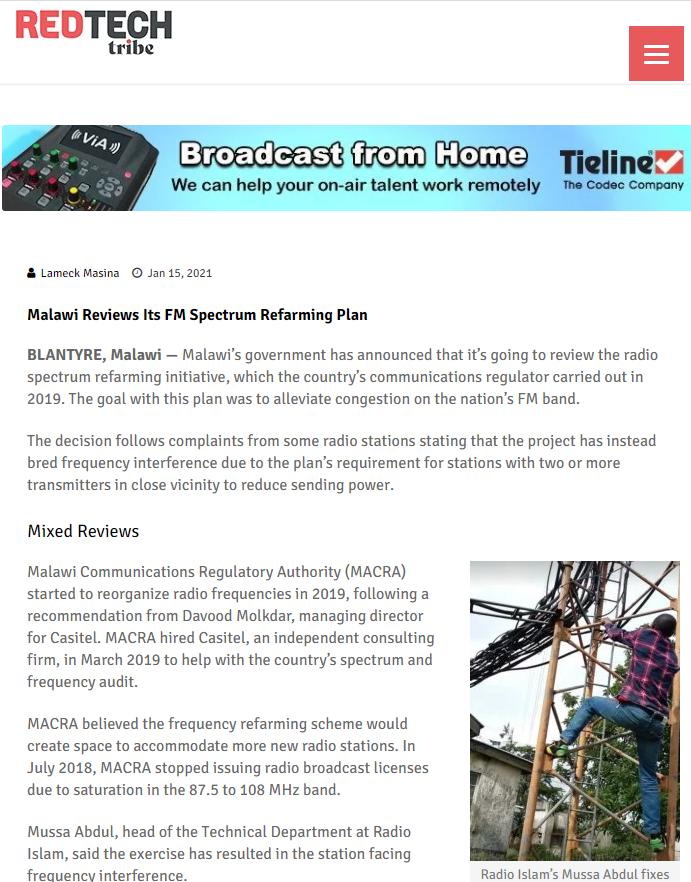 Malawi reviews its FM spectrum refarming plan