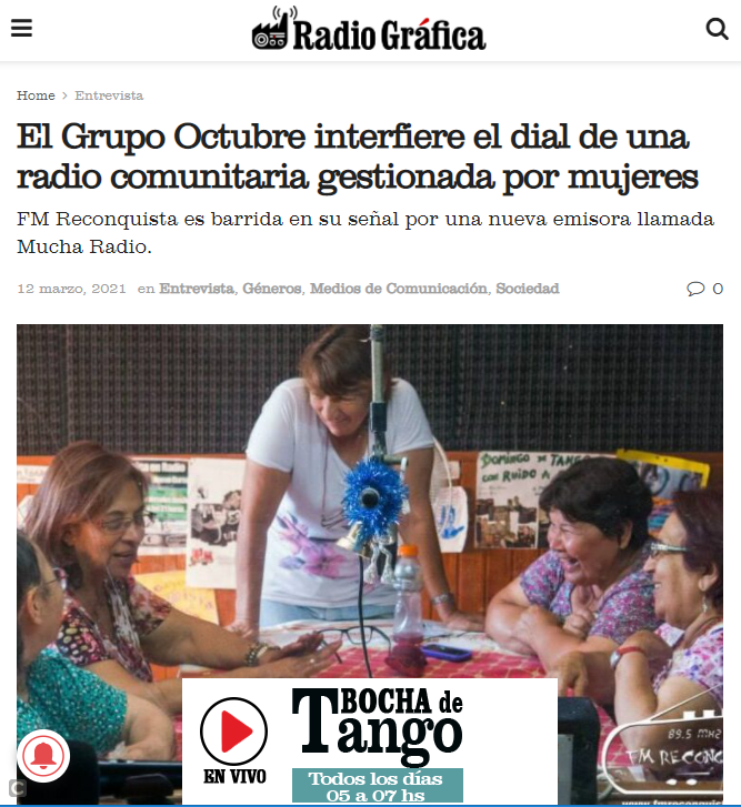 Radio Gráfica, a station in the capital city broadcasting on 89.3 MHz, interviewed an FM Reconquista manager and published a long interview on its website