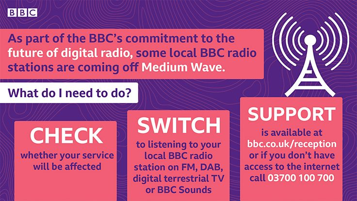 BBC ad alerts listeners to medium-wave shutdown and shows how to inquire about listening alternatives