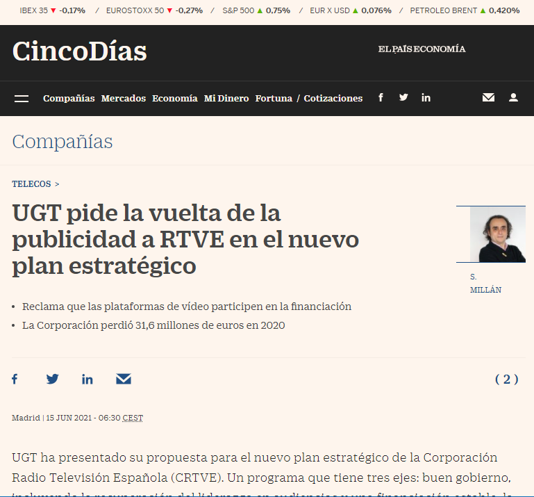El País article analyzes the financing model of public television, currently devoid of advertising, and presents the union's proposals
