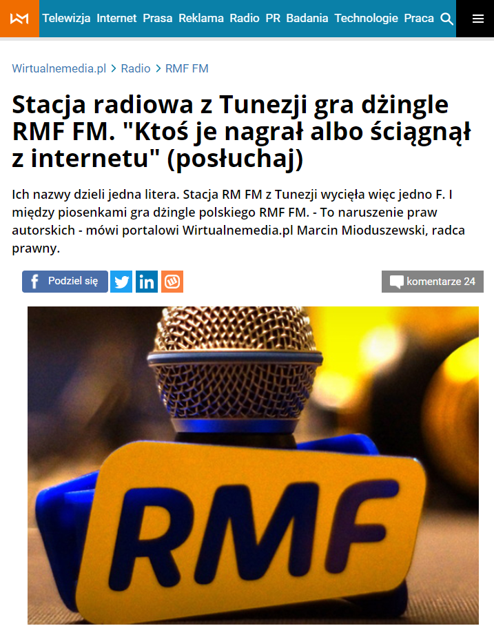 On the Wirtualnemedia website, you can listen to a recording in which the jingles of RM and RMF are compared.